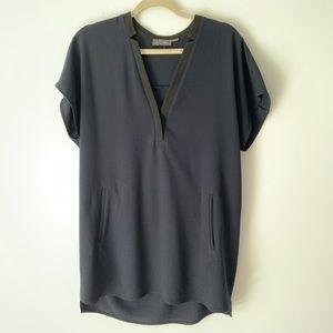 ASTR Navy Black Long Tunic Shirt Blouse Medium
